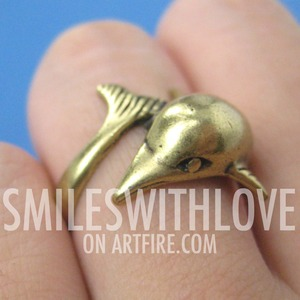 SALE Miniature Dolphin Animal Ring in Bronze - Sizes 5 - 6.5
