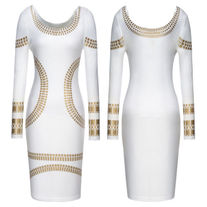 Kim K Foil Print Bodycon Party Celeb Dress