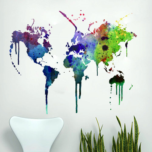 World Map Wall Decal Watercolor Vinyl · Moonwallstickers.