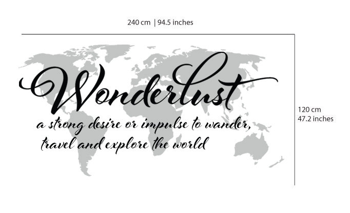 Wanderlust travel quote world map wall art decal wanderlust travel quote world map wall art decal thumbnail 1 gumiabroncs Images