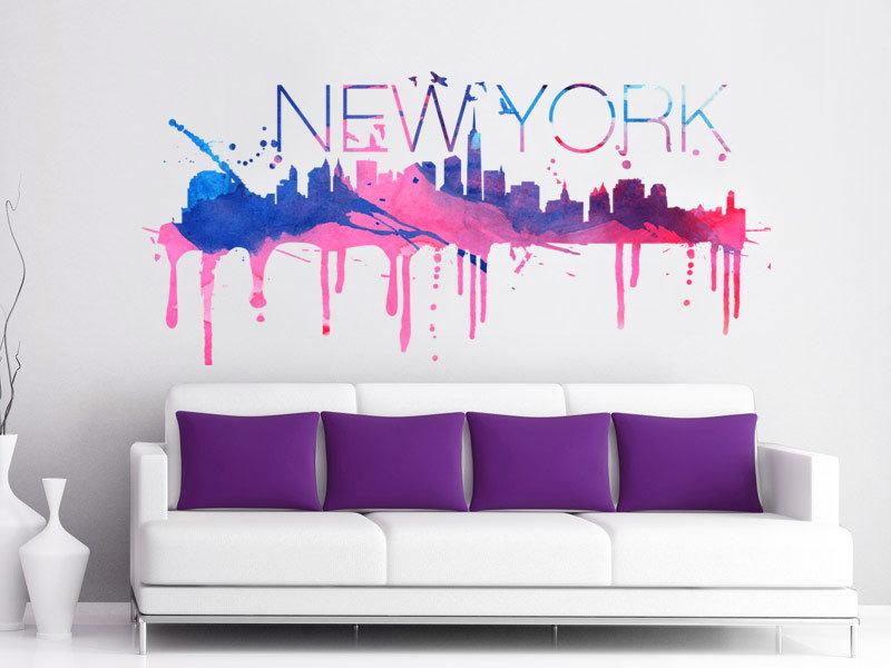 New York Watercolor Skyline Vinyl Wall Decal Moonwallstickers