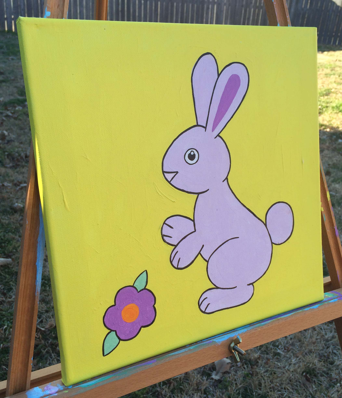 Original hand made bunny rabbit nursery wall art, 12\
