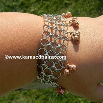 Large Ring chain maille cuff with bells
