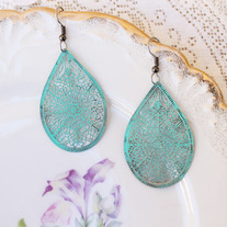 Turquoise Filigree Cutout Earrings