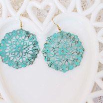 Oversized Turquoise Brass Round Cutout Dangle Earrings