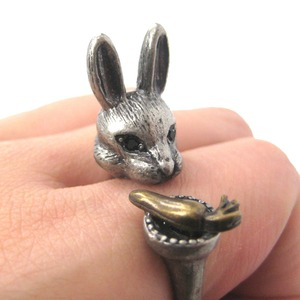 Detailed Bunny Rabbit and Carrot Animal Ring in Silver | US Sizes 8 to 11 Available