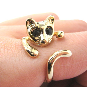 Kitty Cat Shaped Animal Wrap Around Ring in Shiny Gold - Sizes 7 to 9 Available