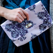 Mini Clutch - Dark Grape Florals