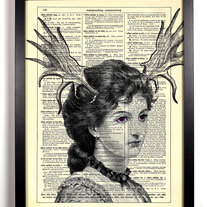Image of Horned Woman, Vintage Dictionary, 8 x 10