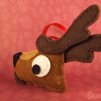 Reindeer Ornament, Felt Animal Christmas Ornament - Donner the Reindeer