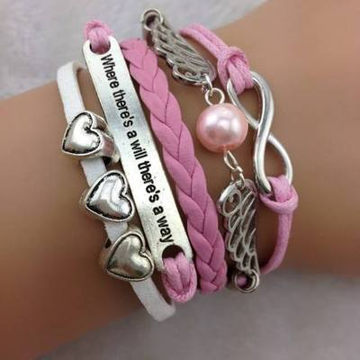 High quality fashion leather bracelet infinity-love