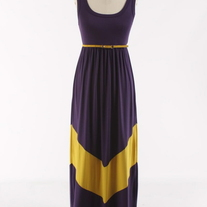 Colorblock Purple & Gold Long Tank Chevron Stripe Maxi Dress