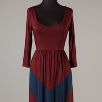 Fall Colorblock Burgundy Red Navy 3/4 Sleeve Scoopneck Chevron Stripe Maxi Dress