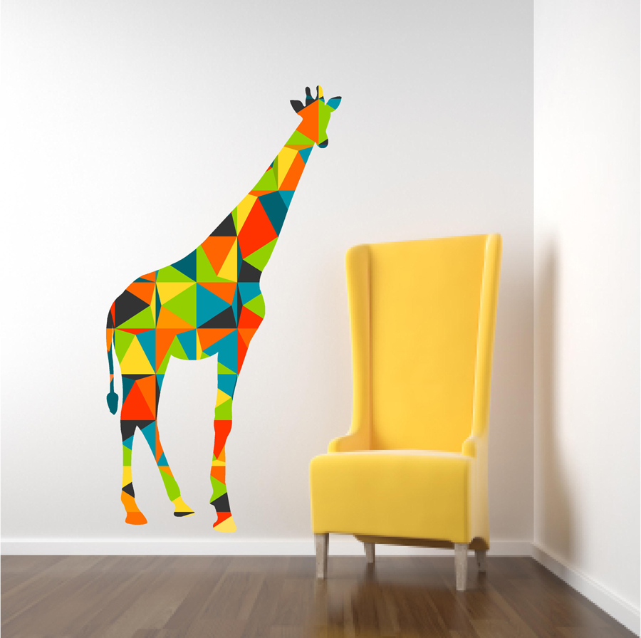 Giraffe Wall Decals with colorful geometric pattern · Popitay Walls ...