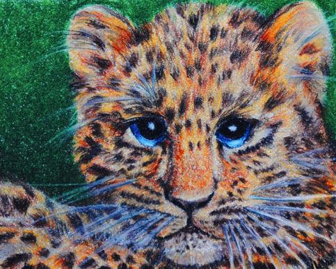 "Silajai Big Eye Animal Art   Leopard Cub 5""x7"" Artist ..."