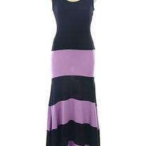 Colorblock Black & Purple Biscot Jersey Long Tank Maxi Dress Striped SML