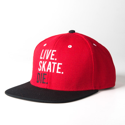 Live.skate.die. red - snap back hat