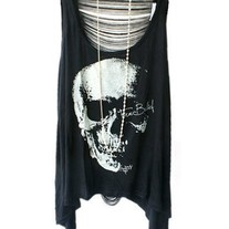 Skeleton Print Fringe T-shirts