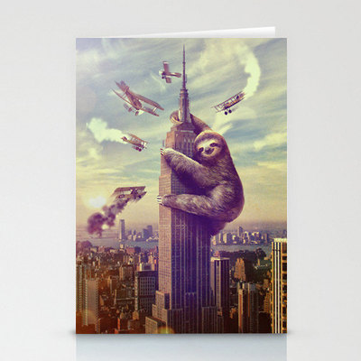 Slothzilla 3-pack of stationary cards with matching envelopes