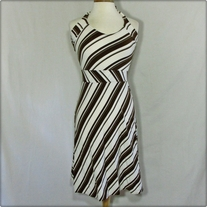 Stretch White and Brown Halter Dress