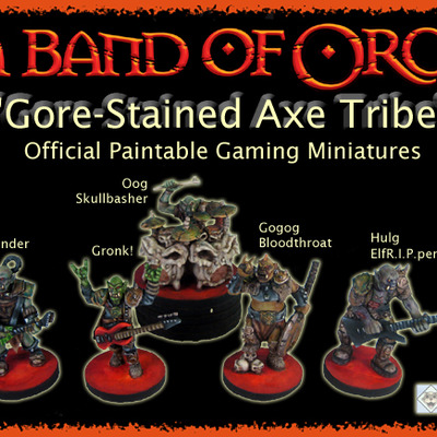 A band of orcs - gore-stained axe tribe official gaming miniatures