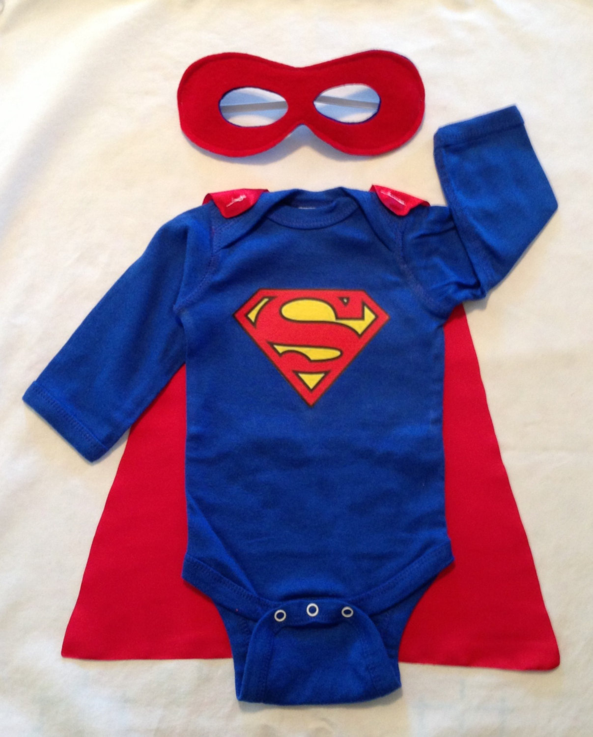 superman or superwoman superhero baby outfit with detachable satin cape and reversible mask. Black Bedroom Furniture Sets. Home Design Ideas