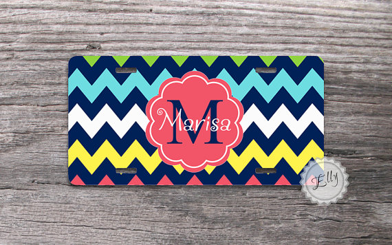 Personalized Front License Plates >> Colorful Chevron License Plate Custom Name Or Monogram