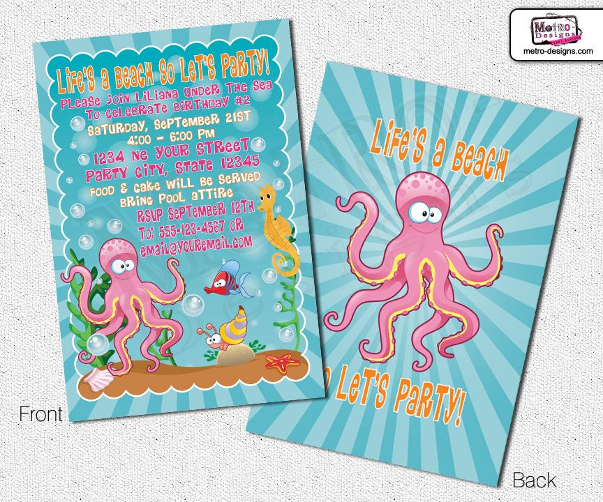 Under The Sea Invitations, Sea Animals Invitations, Party ...