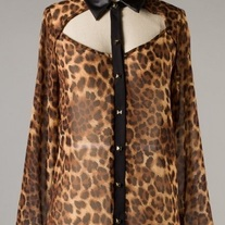 Leopard Cut Out Blouse with Leather Collar