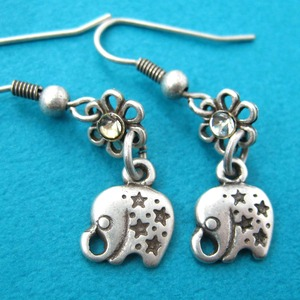 Small Elephant Star Animal Floral Dangle Earrings in Silver