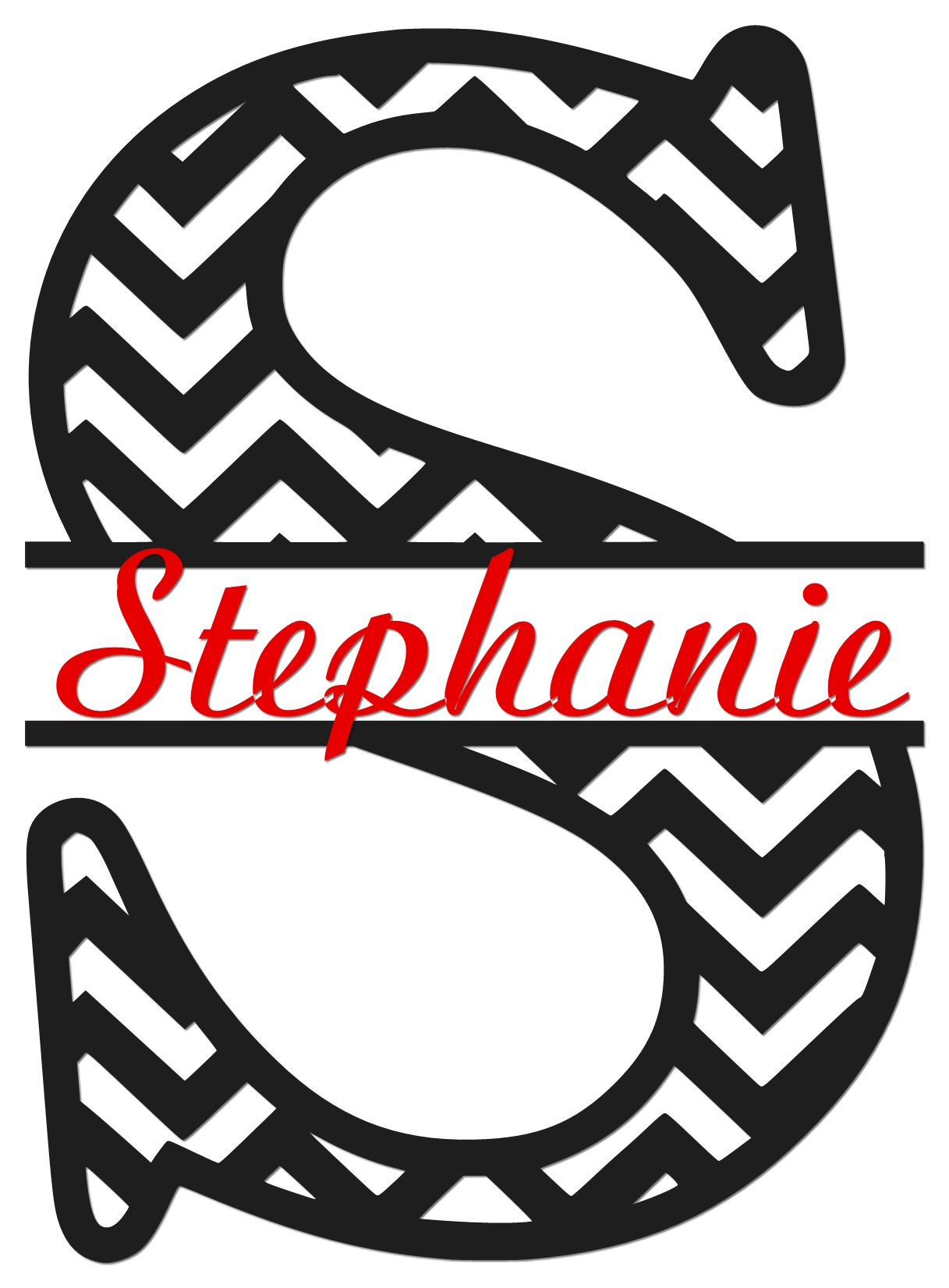 chevron monogram wall decal stickie situations online store powered by storenvy. Black Bedroom Furniture Sets. Home Design Ideas