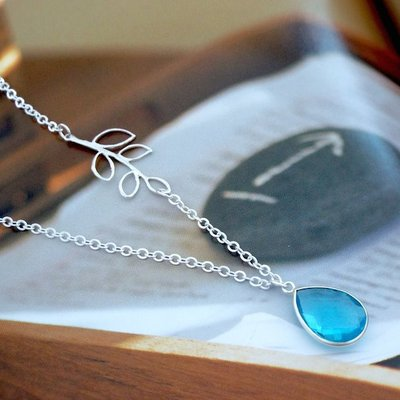 Drop and branch sterling silver necklace with aquamarine stone. bridal. wedding. bridesmaids gift. everyday wear.