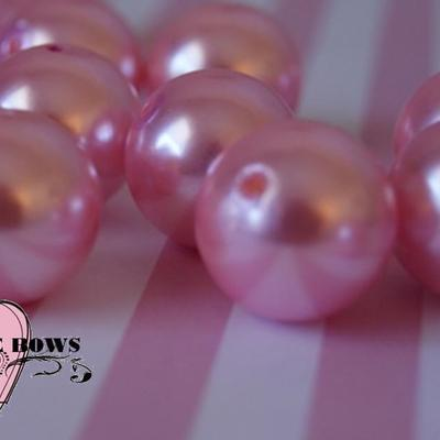 Pink faux pearl chunky 20mm beads set of 10