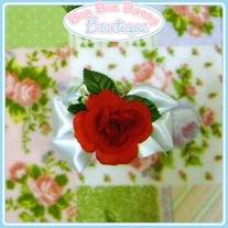 Elegant Red Rose on Pale Blue Bow