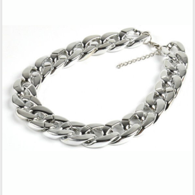 Silver chunky link necklace