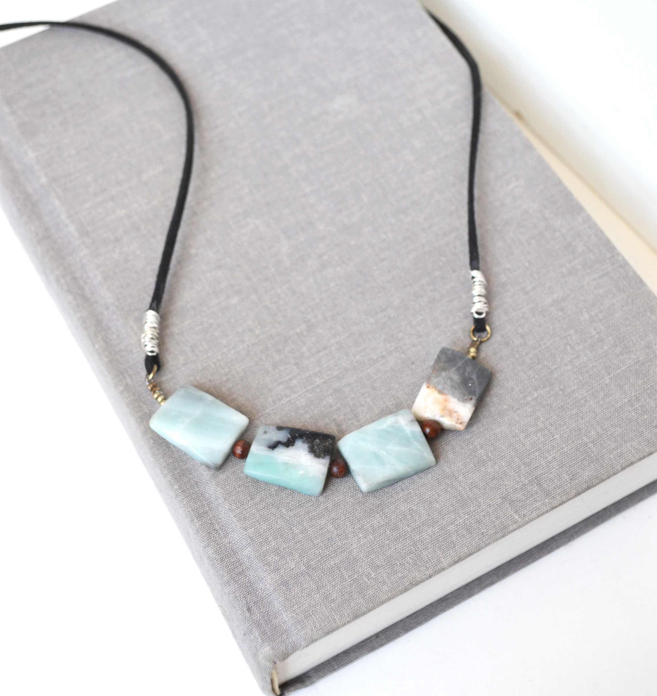 product amazonite design gemstones necklace with pillow book boho blue