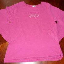 HOT PINK GAP KIDS LS SHIRT WITH GAP RHINESTONE-SIZE M/8
