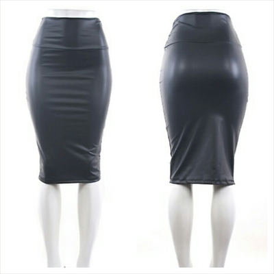 High waist leather pencil skirt