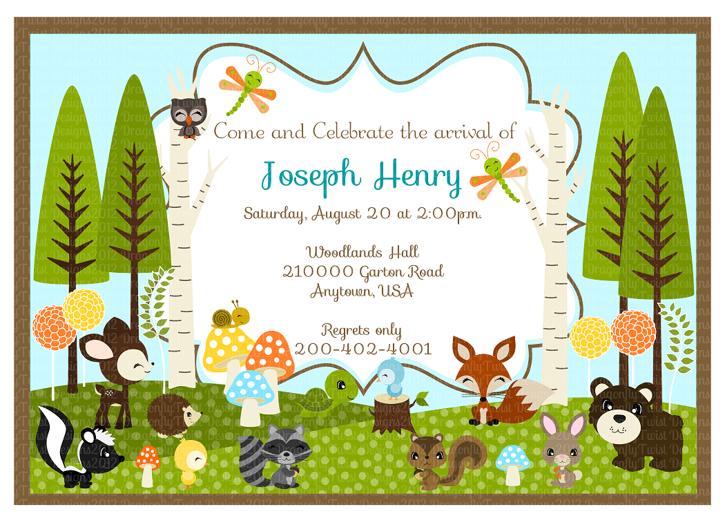 woodland friends diy collection birthdays baby shower invites