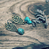 true. little owl and turquoise earrings
