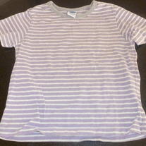 Purple/Gray/White Striped Short Sleeve Shirt-Old Navy Size 4/5