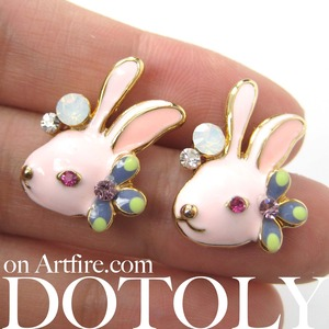 Pink Bunny Rabbit Animal Stud Earrings with Flowers and Rhinestone