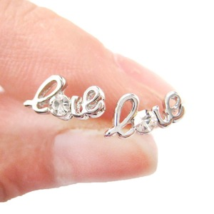 Love Cursive Letter Shaped Tiny Stud Earrings in Silver with Rhinestones