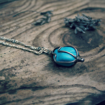 bhrett. caged turquoise necklace
