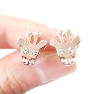 Cute Giraffe Face Shaped Stud Earrings with Rhinestone in Rose Gold