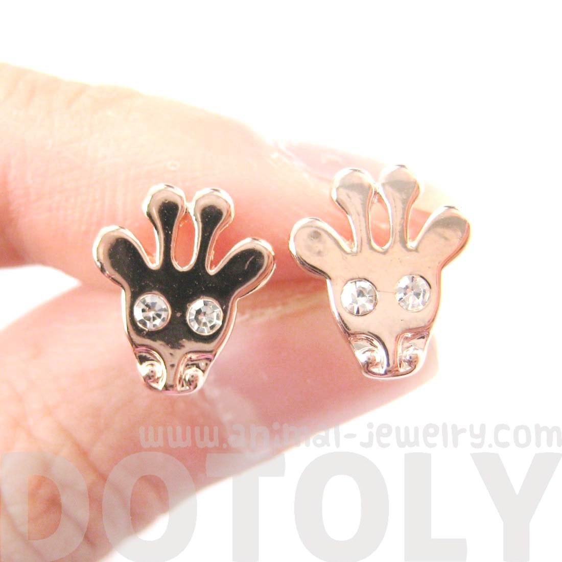 Cute Giraffe Face Shaped Stud Earrings With Rhinestone In Rose Gold   Thumbnail 1
