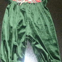 Green Velour Holiday Romper-Rose Cottage Size 6-9 Months