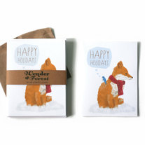 Happy Holidays Fox Cards Set of 6