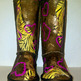 """Tough Love"" Custom Painted Ugg-Type Boots Size 2 Girls - Thumbnail 1"