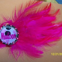 Fancy Feather Bottle Cap Barrette-interchangable